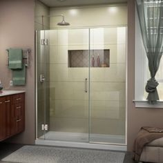 DreamLine Unidoor-X H x to W Frameless Hinged Satin Black Shower Door (Clear Glass) at Lowe's. The DreamLine Unidoor-X is a frameless shower door, tub door or enclosure that features a luxurious modern design, complementing the architectural Bathtub Doors, Frameless Shower Doors, Dreamline Shower Doors, Walk In Shower Doors, Wooden Bathtub, Frameless Shower Enclosures, Wood Bath, Glass Shower Doors, Glass Doors