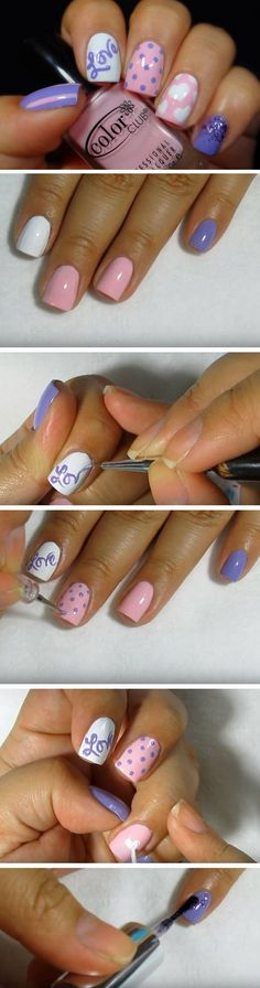 Pink & Purple | Cute Valentines Day Nail Art Ideas for Teens
