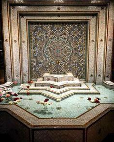 Home Design Inspiration Moroccan Tile Pool Fountain Hot Tub Tile Design Moroccan Design, Moroccan Style, Islamic Architecture, Architecture Design, Morrocan Decor, Arabic Decor, Modern Pools, Bathroom Styling, Bathroom Ideas