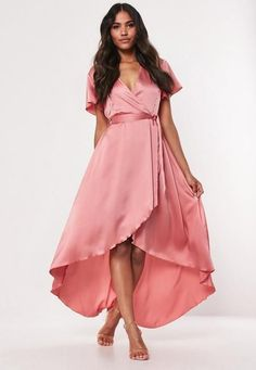 """a short sleeve blush pink satin midi dress featuring in a wrap over style with high low hem detail and tie waist.    regular fit     Midi - Sits just below the knee    100% Polyester     Noara wears a UK size 8 / EU size 36 / US size 4 and her height is 5'9"""" Dresses Uk, Dresses Online, Prom Dresses, Summer Dresses, Formal Dresses, Formal Wear, Bridesmaid Dress, Pretty Dresses, Silky Dress"""
