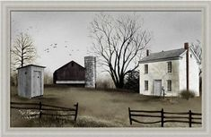 Double Seat Outhouse Barn Farm Canvas Country Decor Billy Jacobs Americana