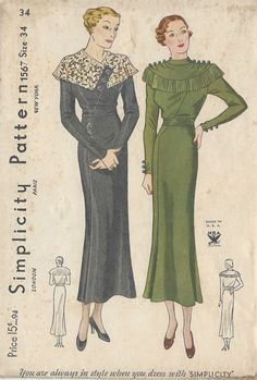 "1930s Vintage Sewing Pattern DRESS B34"" (R589)"
