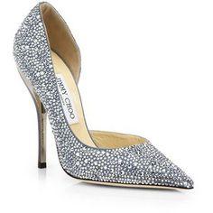 Jimmy Choo Whistler Swarovski Crystal-Covered Suede d'Orsay Pumps #Shoes #Heels