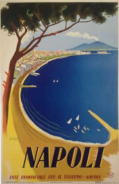 Vintage Italy Napoli Travel Poster went there in summer awsome trip Tourism Poster, A4 Poster, Poster Prints, Poster Wall, Vintage Italian Posters, Vintage Travel Posters, Travel Ads, Travel And Tourism, Napoli Italy