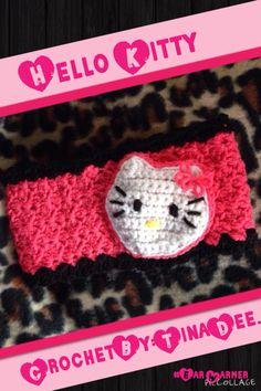 Crochet hello kitty ear warmer-headband for lil miss Jayla on my school bus.