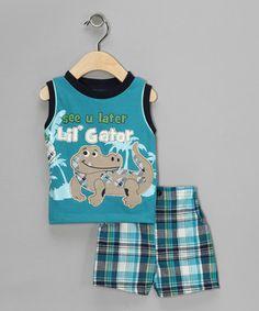 Blue Lil Gator Tank & Plaid Shorts Infant $12.99