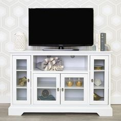"""Shop for 52"""" White Wood Highboy Style TV Stand. Get free shipping at Overstock.com - Your Online Furniture Outlet Store! Get 5% in rewards with Club O!"""