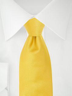 Cravate unie jaune poussin à 7 plis