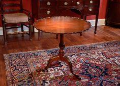 George III Mahogany Pie Crust Tilt-Top Tea Table and THAT RUG!