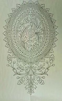 Border Embroidery Designs, Embroidery Fashion, Hand Embroidery Patterns, Embroidery Stitches, Pencil Design, Fabric Stamping, Floral Drawing, Stained Glass Designs, Mehndi Art Designs