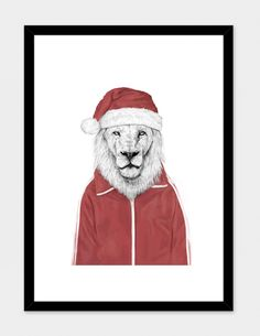 """""""Santa lion"""", Numbered Art Print by Balázs Solti - From $39.00 - Curioos"""