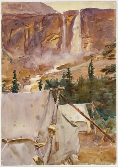 Camp and Waterfall by John Singer Sargent