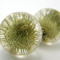 Green Thistle Round Earrings Forest Jewelry Green Eco by sisicata, $40.00