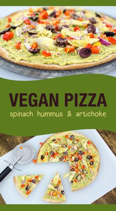 Spinach Hummus Pizza - vegan and gluten free recipe - makes a yummy lunch, snack or dinner! | VeggiePrimer.com