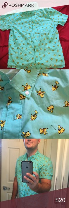 Pickachu button down Be the talk of the pokestop. In case there is a new Pokémon craze in the future you'll be ready and this will set you apart from all those boring t-shirts Pokemon Shirts Casual Button Down Shirts