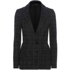 Bottega Veneta Plaid Wool-Blend Knitted Jacket featuring polyvore, women's fashion, clothing, outerwear, jackets, coats & jackets, suits, black, tartan jacket, wool blended jacket, bottega veneta jacket, plaid jackets and bottega veneta