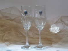 Wedding GlassesChampagne FlutesRoyal Blue by InspirellaDesign