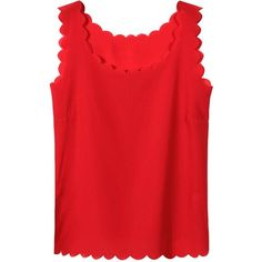 Yoins Red Chiffon Vest with Scallop Hem (34 MYR) ❤ liked on Polyvore featuring tops, tanks, shirts, red, red chiffon tank top, round neck shirt, red chiffon top, chiffon tank and chiffon tank top