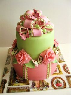 Birthdaycake pink and green By daan69 on CakeCentral.com