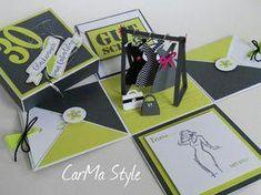 Modegutschein – CarMa Style (birthday card pop up creative) Card In A Box, Pop Up Box Cards, Birthday Card Pop Up, Birthday Box, Exploding Gift Box, Box Cards Tutorial, Matchbox Crafts, Scrapbook Box, Karten Diy