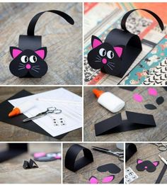 Cute Black Pink Paper Cat Craft - Her Crochet Paper Crafts For Kids, Preschool Crafts, Diy For Kids, Arts And Crafts, Bunny Crafts, Easter Crafts, Pink Paper, Animal Crafts, Halloween Crafts