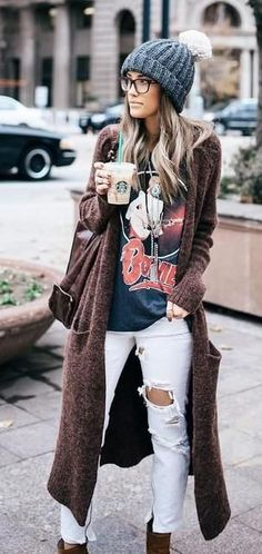 maxi cardigan, graphic tee, ripped jeans