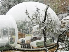 French designer Pierre-Stéphane Dumas has put a new spin on camping outdoors with his series of tent-like chambers shaped like igloos, under the name Bubbletree. Each bubble suite is fit to be fully furnished with enough space for a bed and resting chairs. They come in two forms—transparent and half-opaque—for different settings, whether you want to lay back and take in your surroundings or simply have a private lodge outdoors.