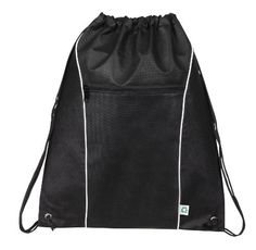 """Eco Non-woven Drawstring Backpack Bookpack Bag, Black by BAGS FOR LESSTM. 15"""" W x 18"""" H. Lightweight. Size 15"""" W x 18"""" H. Eco-Friendly Non-Woven Polypropylene 90+ GSM Recycable. Bag features, large front zipper pocket, double cord closure. Black Please see our other listings for Red, Royal Blue, Forest Green, Navy. Bags For Lesstm. Double cord closure. Eco-Friendly Non-Woven Polypropylene 90+ GSM Recycable/ Size 15"""" W x 18"""" H. Large Front Zipper Pocket. This lightweight Eco-Friendly..."""