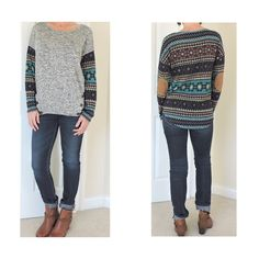 """HP INSTA CHIC PARTY 11/11/15  Small Love this elbow patch sweater light weight and so comfortable  SMALL   PLEASE COMMENT SIZE AND I WILL CREATE YOU A SEPARATE LISTING   Grey black front with button accents lower front  Multi color back w/faux suede elbow patch  NWOT and EXCELLENT QUALITY   size small bust 36-38 for proper fit Size medium bust 38-40 Size large bust 40-42  High low hem 26"""" front 28"""" back  77 Rayo /22 polyester/2 spandex   PRICE IS FIRM UNLESS BUNDLED  Boutique label  Sweaters…"""
