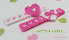 CROCHETED HEADBAND PATTERN (not actual tem) The Hearts and kisses crochet headband pattern This headband is just so cute A neat little band