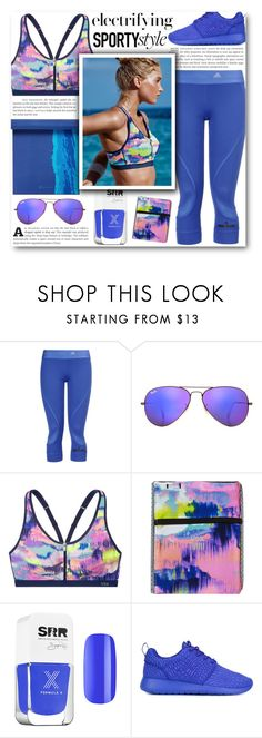 """""""Electric Gym Essentials"""" by katrinaalice ❤ liked on Polyvore featuring STELLA McCARTNEY, Ray-Ban, Victoria's Secret, Formula X, NIKE, Gaiam, gym and gymessentials"""