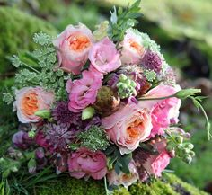 Peach garden roses, pink lisanthus and pink astrantia by Eden Blooms