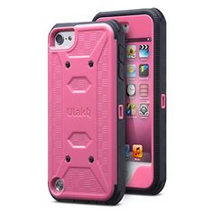 iPod 5 case,iPod Touch 5 case,ULAK; [Knox Armor Series] Dual Layer Hybrid Full-body Protective Case with Front Cover and Built-in Screen Protector / Impact Resistant Bumpers (Rose Pink) http://www.amazon.com/dp/B00TPBG4QE