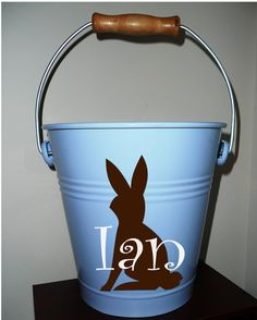 "Stinking cute pail for $28.00! 8"" pail from famous maker. Great for car trips, Easter, or playroom organization!"