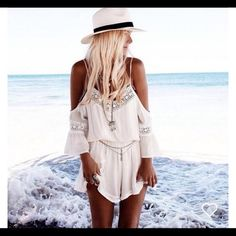 Off-White Off the shoulder Lacey Romper Off-White Off the shoulder Lacey Romper, brand new with tags. Fits a M/L. PERFECT for summer and spring! Urban Outfitters Pants Jumpsuits & Rompers