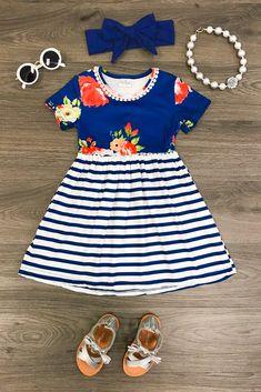 Britnee Blue Floral Dress