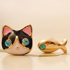 Kitty & Fish Stud Earrings Kitty & Fish Stud Earrings with rubber Backings Jewelry Earrings