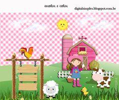 Kit Personalizado Fazendinha para Menina para Imprimir - Convites Digitais Simples