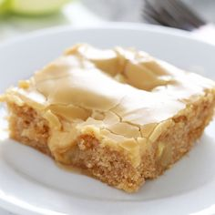 Salted Caramel Apple Sheet Cake features an ultra tender, slightly spongey cinnamon apple cake with a thick and shiny salted caramel glaze.