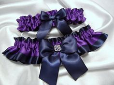 Navy Blue and Viola Purple Satin Wedding Garter Set