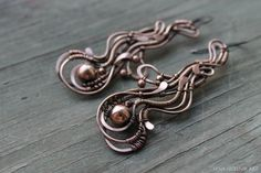Solid copper earings by Schepotkina