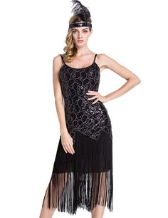 PrettyGuide Women 1920s Sequin Paisley Long Tassels Overlay Midi Cocktail Flapper Dress Pure Black M