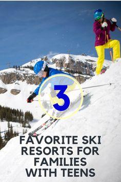 Favorite ski resorts for families. Where to ski with teens. Best family ski resorts. MomTrends.com #ski #travel #familytravel #familyski