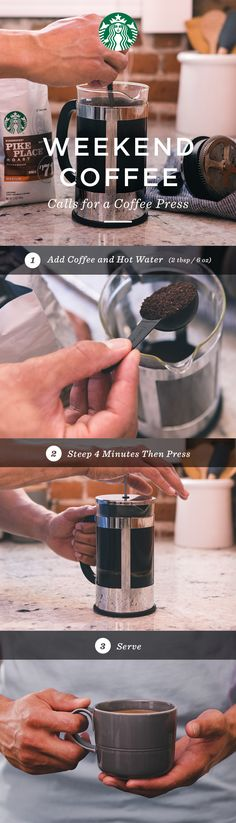 Mastering the coffee press is a wonderful way to brew great tasting coffee. With a little knowhow—you can easily brew like a pro. 1. Use 2 Tbsp. of course ground coffee for every 6 oz. water. 2. Steep grounds in hot water for 4 minutes before pressing. 3. Serve and enjoy.