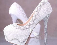 Pearl And Rhinestone Covered High Heels,Unique Bling Crystal, Pearl Wedding Shoes Bridal Shoes from Aiye on Etsy High Heel Pumps, Stilettos, Pumps Heels, Stiletto Heels, White Wedding Shoes, Wedding Heels, Bling Wedding, Ivory Wedding, Crystal Wedding