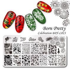 $2.99 BORN PRETTY Celebration Stamping Plate New Year Rectangle Manicure Nail Art Image Template BPX-L013 - BornPrettyStore.com
