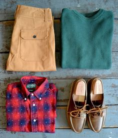 Saturdays - Bellows Chinos Saturdays - Horizontal Knit Sweater Gitman Bros Vintage - Plaid Pindot Shirt Oak Street Bootmakers - Natural Vibram Trail Oxford