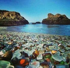 Glass Beach in  Mendocino, California