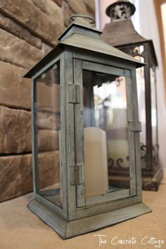 The Concrete Cottage: Metal Lantern Revamp with Chalk Paint & Wax-- big linky party list at the end.