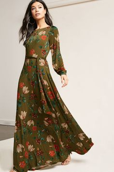 Product Name: Floral Belted Maxi Dress, Category: dress, Price: 38 - Olivia Maxi Dresses Modest Dresses, Modest Outfits, Modest Fashion, Hijab Fashion, Boho Fashion, Nice Dresses, Casual Dresses, Short Dresses, Fashion Dresses